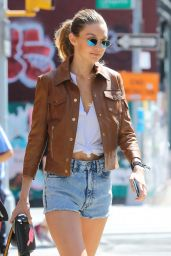 Gigi Hadid in Jeans Shorts - NYC 9/4/2016