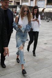 Gigi Hadid in Ripped Jeans - Milan, September 2016