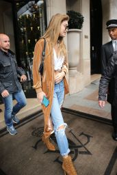 Gigi Hadid Urban Style - Leaves the Hotel George V in Paris 9/29/2016