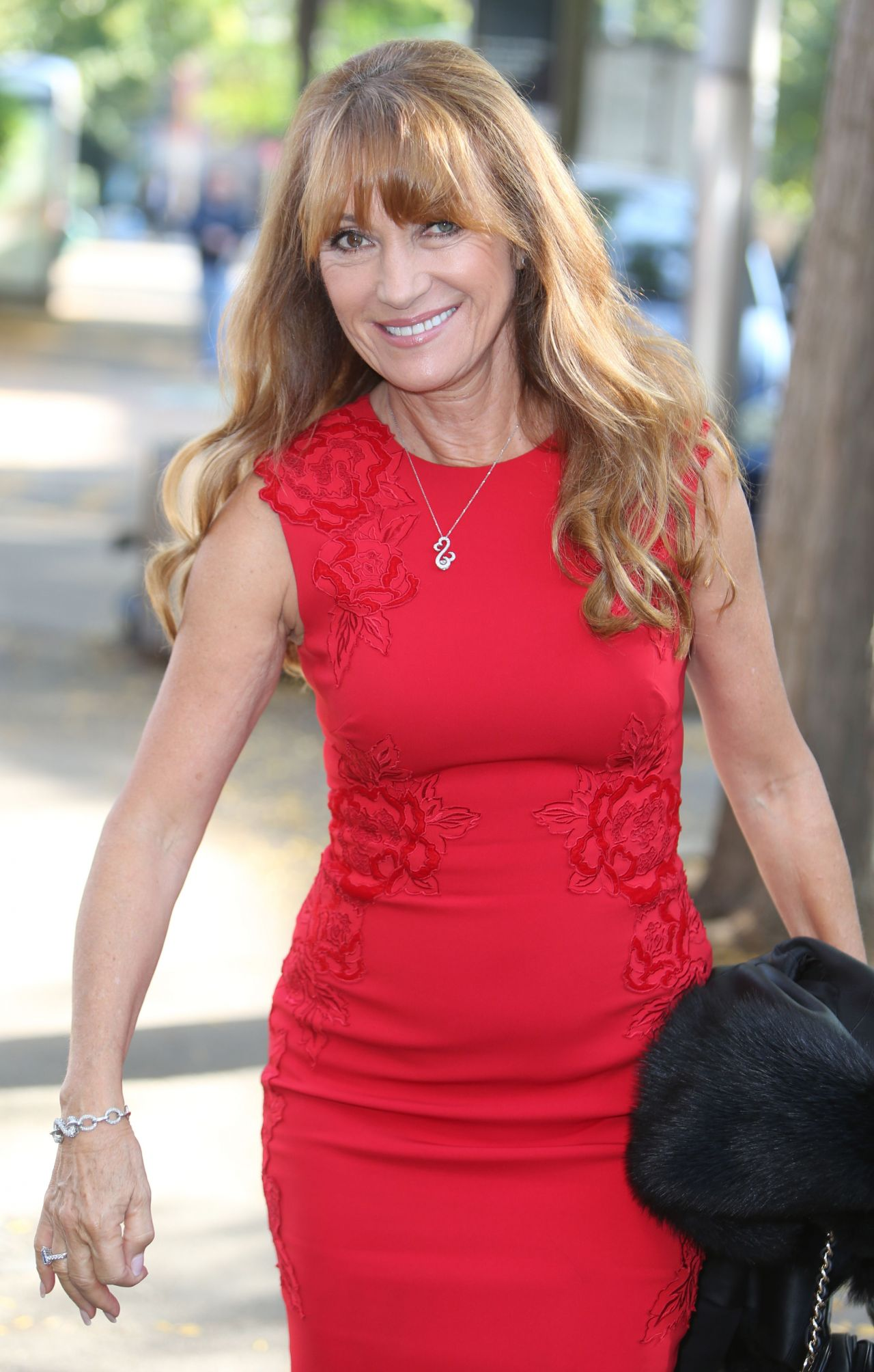 Jane Seymour In Red Dress At The Itv Studios In London 9