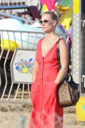 January Jones in Red Dress at the Malibu Fair 9/4/2016