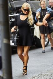 Jessica Simpson Leggy in Black Mini Dress - New York City 9/20/2016