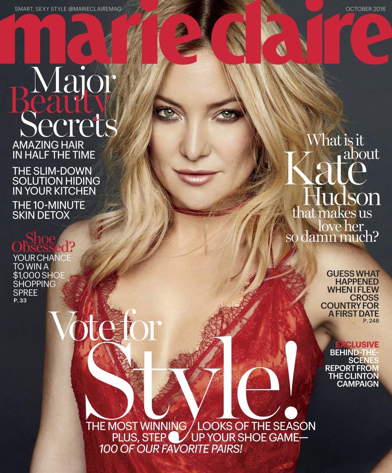 kate hudson marie claire magazine october 2016 issue. Black Bedroom Furniture Sets. Home Design Ideas