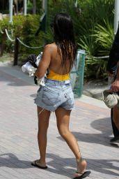 Kourtney Kardashian in Jeans Shorts in Miami Beach 9/14/2016