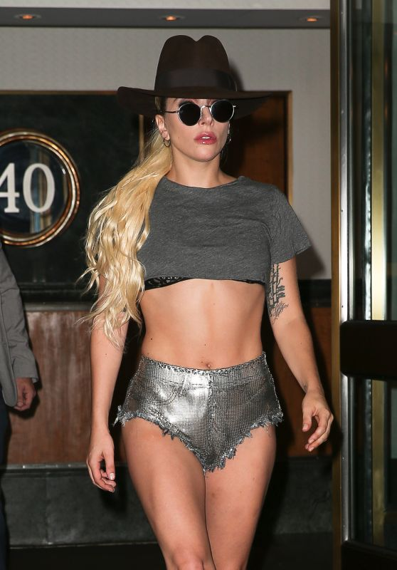 Lady Gaga in Shiny Silver Shorts - Heads to the Music Studio in New York City 9/21/2016
