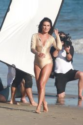 Lea Michele in Swimsuit - Doing a Photoshoot on a Beach in Malibu 9/1/2016