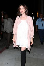 Lily Collins - Leaving The Catch Restaurant on Melrose 9/27/ 2016