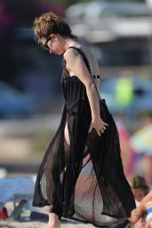 Lily James in Sheer Dress and Bikini in Ibiza Spain 9/3/2016