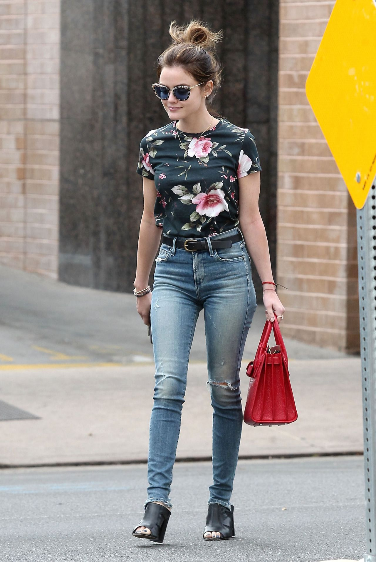 lucy hale booty in jeans shopping in larchmont village