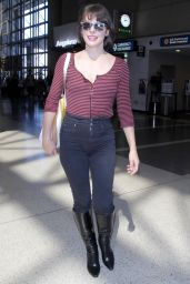 Milla Jovovich Travel Outfit - Departing From LAX 9/28/ 2016
