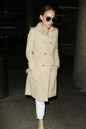Natalie Portman Chic in Her Trench Coat - Arriving at LAX 09/20/2016