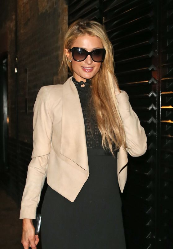Paris Hilton Night Out Style - at The Chiltern Firehouse in London Wearing a Cream Jacket 9/28/2016
