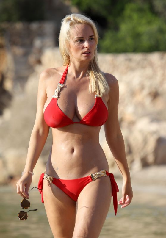 Rhian Sugden Hot in Red Bikini - Beach in Ibiza, September 2016
