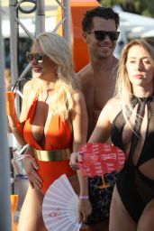 Rhian Sugden in Orange Swimsuit - Party in Ibiza, September 2016