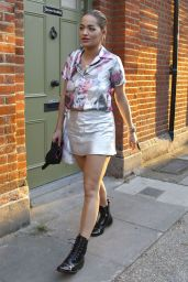 Rita Ora in Mini Skirt - Outside Grove Recording Studios in London 9/13/2016