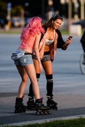Sandra Kubicka - Rollerblading With a Friend in Warsaw, Poland September 2016