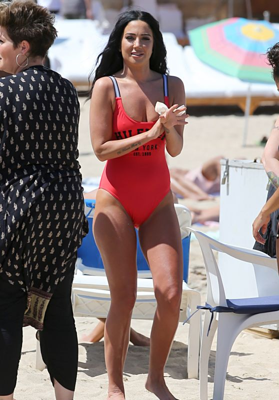 Tulisa Contostavlos in Red Swimsuit - Music Video Shoot in Ibiza, September 2016