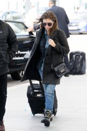 Anna Kendrick Travel Outfit - Flying Out of Heathrow Airport in London 10/04/2016