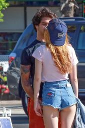 Bella Thorne Leggy in Jeans Shorts - Los Angeles 10/2/2016