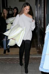 Chrissy Teigen - Leaving Her Hotel in New York City, October 2016