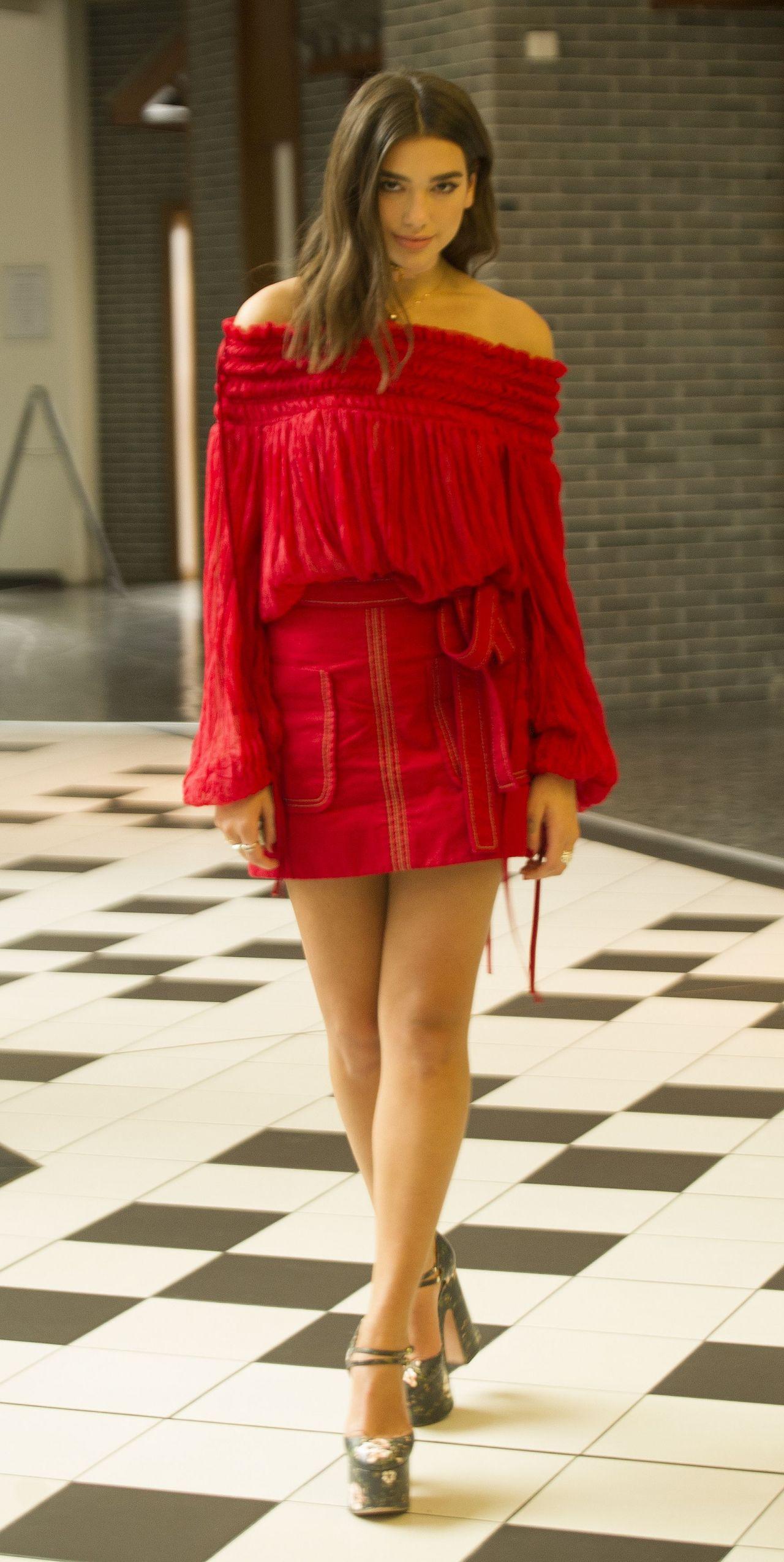 Dua Lipa in Red Mini Dress