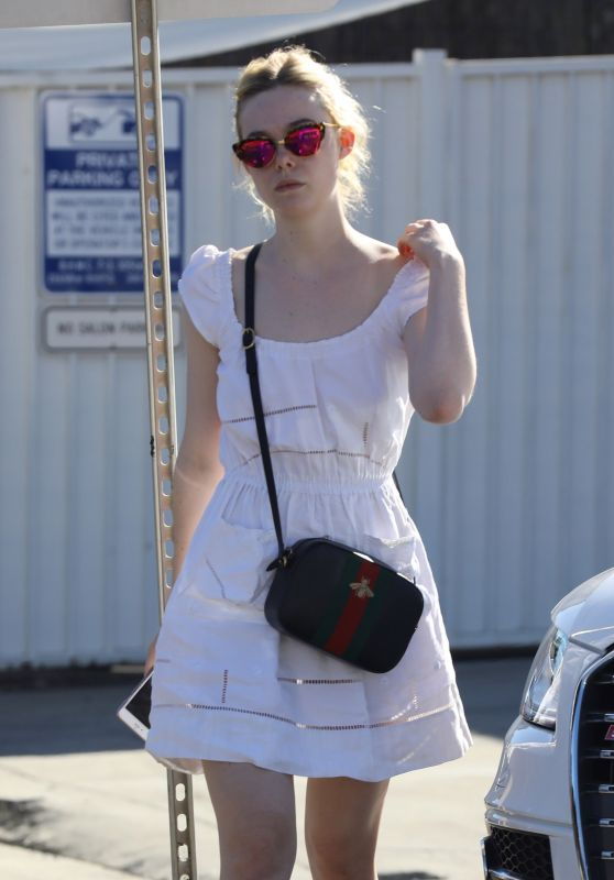 Elle Fanning Cute Outfit - Out in Beverly Hills 10/20/ 2016