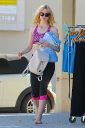 Elle Fanning in Leggings - Outside of a Gym in Los Angeles 10/1/2016