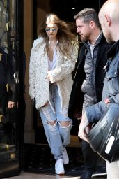 Gigi Hadid in Ripped Jeans - Out in Paris 10/5/2016