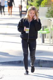 Hilary Duff Makeup Free Wearing a Black Bomber Jacket - Los Angeles, CA 10/25/ 2016