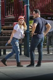 Hilary Duff Street Style - At a Park in Beverly Hills 10/16/2016