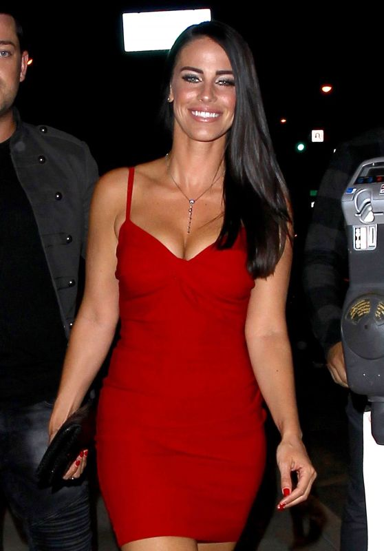 Jessica Lowndes in Red Mini Dress - Leaving Catch Restaurant in Los Angeles, October 2016