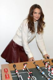 Katie Holmes in Burgundy Leather Skirt  - Quaker