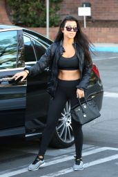 Kourtney Kardashian in a Black Sports Bra and Leggings - Calabasas 10/4/2016