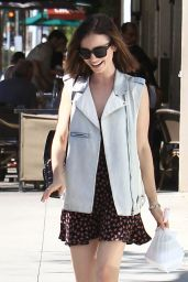 Lily Collins Cute Outfit Ideas - Out for Lunch in Beverly Hills 10/20/ 2016