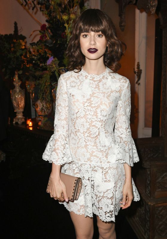 Lily Collins - Valentino After Party in Paris 10/2/ 2016