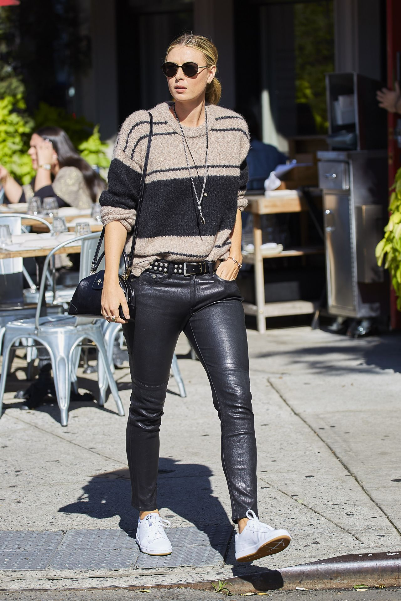Maria Sharapova Wearing Leather Pants New York City 10 5