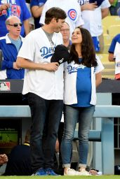 Mila Kunis & Ashton Kutcher - Annouce the LA Dodgers vs Chicago Cubs Starting Lineup at Dodger Stadium in Los Angeles