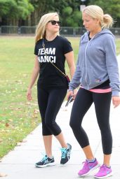 Reese Witherspoon in Leggings at Exposition Park In Los Angeles 10/17/ 2016