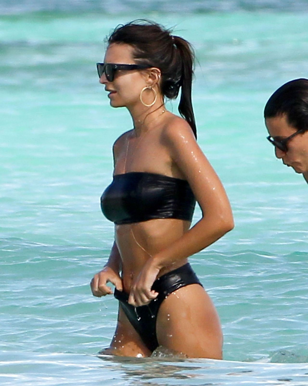 b9547c2a74e Emily Ratajkowski Hot in Black Bikini - Beach In Cancun, Mexico 11/22/ 2016