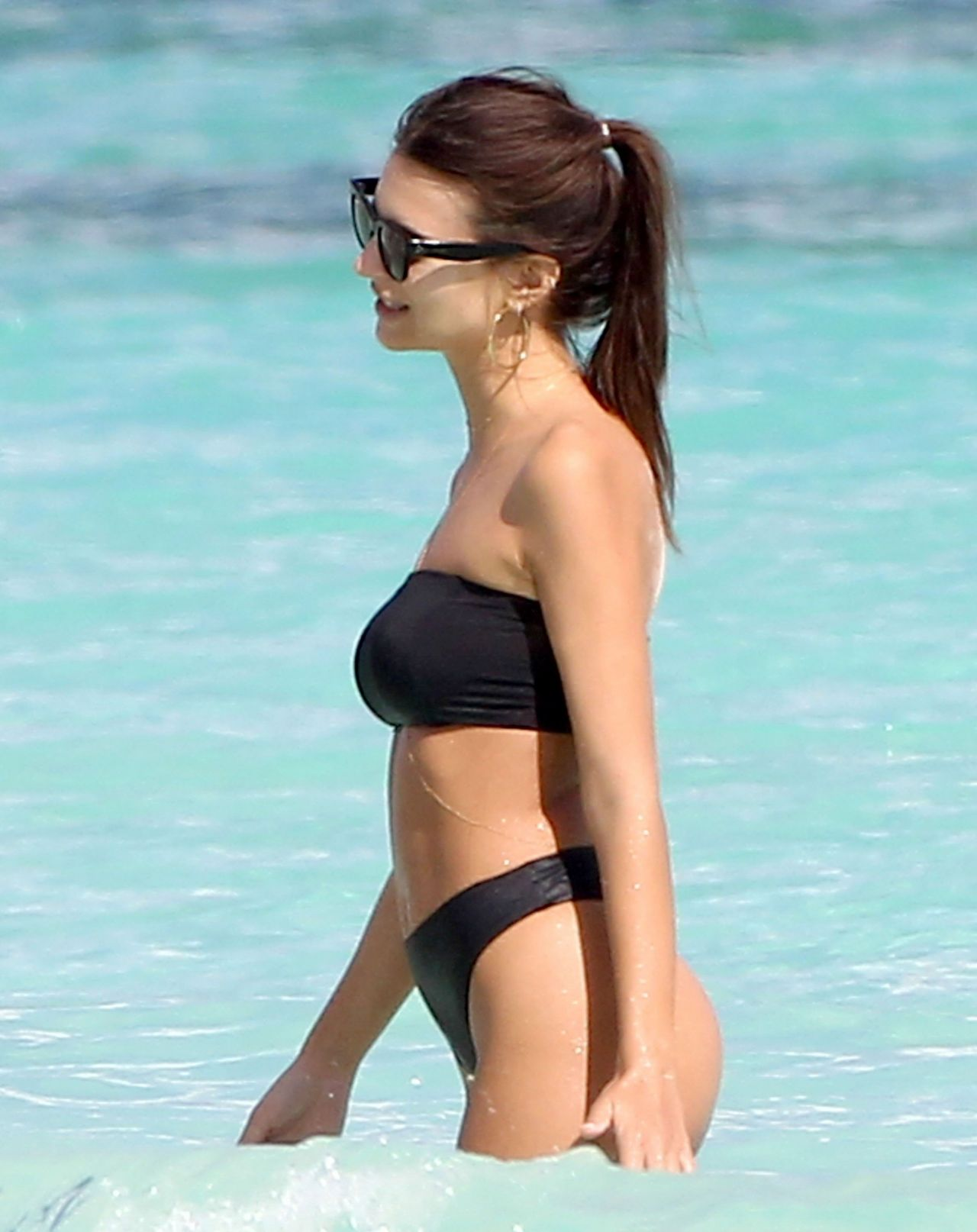 b1c88f28b83 Emily Ratajkowski Hot in Black Bikini – Beach In Cancun, Mexico 11/22/ 2016