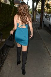 Erika Jordan in a Skin-Tight Blue Dress - Hollywood, California 11/27/ 2016