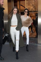Gigi Hadid and Kendall Jenner - Leave Their Hotel in Paris 11/28/ 2016