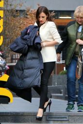 Jessica Chastain Wears Low Cut Top - Filming
