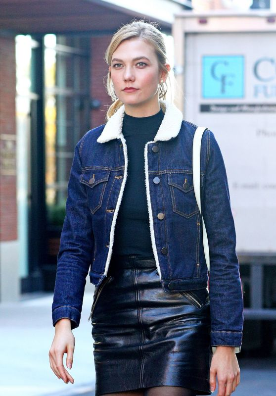 Karlie Kloss in Black Leather Mini Skirt & Denim Bomber Jacket - NYC 10/31 2016
