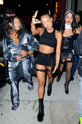 Karrueche Tran Dressed up as Lara Croft - Leaves Catch in Los Angeles 10/31/2016