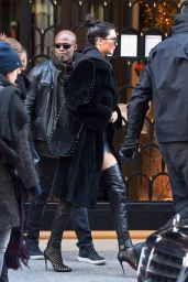 Kendall Jenner in a Pair of Black Thigh High Stripper Boots – Leaving the Mandarin Hotel 11/29/ 2016