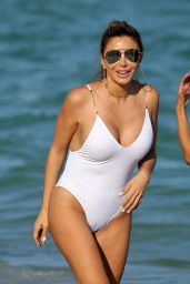 Larsa Pippen Shows Off Her Curves in a White Swimsuit - Beach in Miami 11/13/ 2016