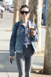 Lily Collins - Leaving the Gym in Los Angeles 11/6/2016