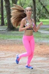 Melissa Lori in Pink Tights - Doing Yoga in Miami Park 11/21/ 2016