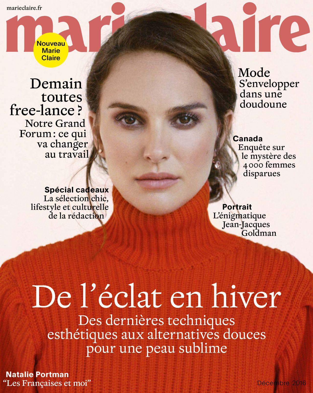 natalie portman marie claire magazine france december 2016 issue. Black Bedroom Furniture Sets. Home Design Ideas